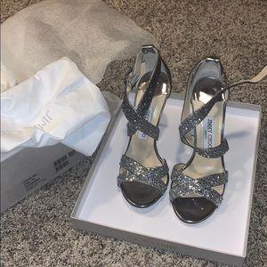 Jimmy Choo Lottie Silver Heels (Brand New in Box)